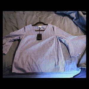 NWT gingham bell sleeve top